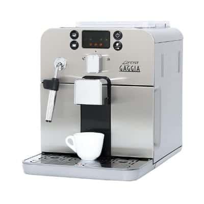 Gaggia Brera Super Automatic Espresso Machine in Silver. Pannarello Wand Frothing for Latte and Cappuccino Drinks.