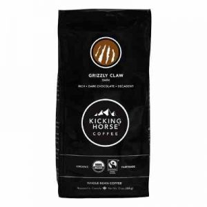 Kicking Horse Coffee, Grizzly Claw, Dark Roast, Whole Bean, 10 oz - Certified Organic, Fairtrade, Kosher Coffee