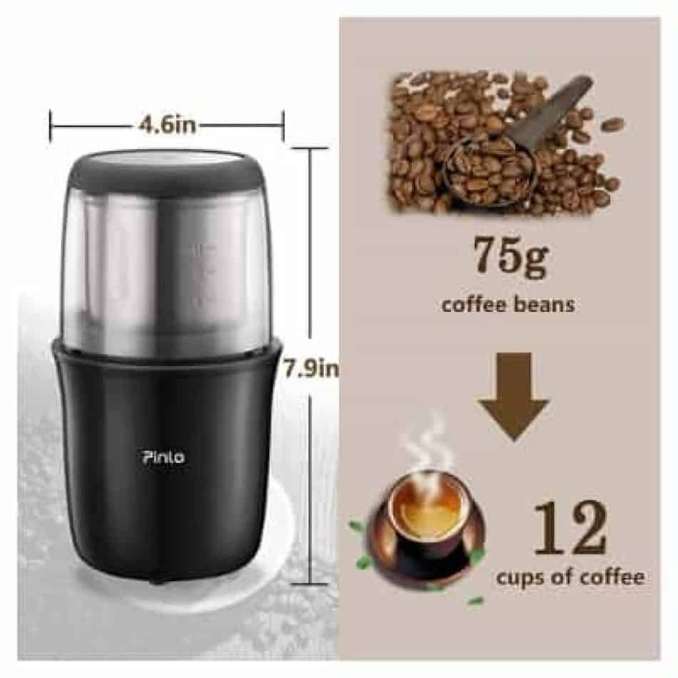 pinlo electric portable coffee grinder outdoors