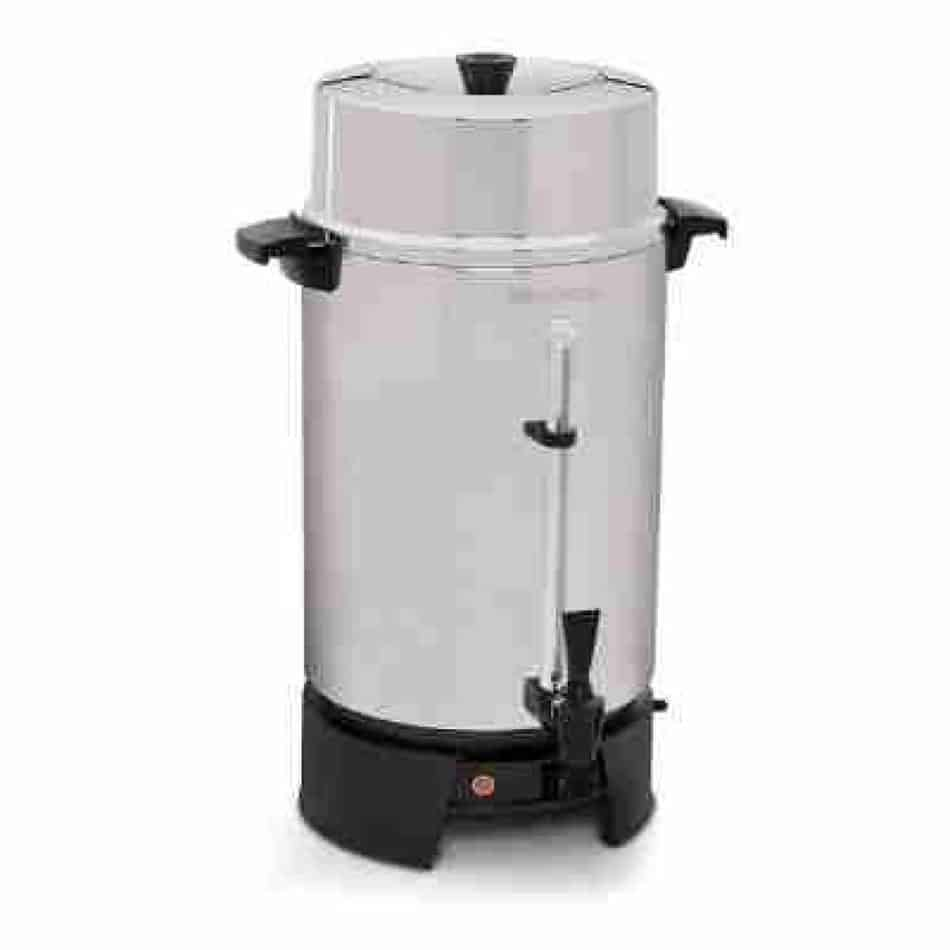 West Bend 33600 Highly Polished Aluminum Commercial Coffee Urn Features Automatic Temperature Control