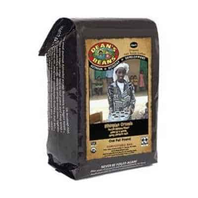 Dean's Beans Organic Coffee Company, Ethiopian Oromia Single Origin, Whole Bean, 16 Ounce Bag (Organic, Fair Trade and Kosher Certified) by Dean's Beans