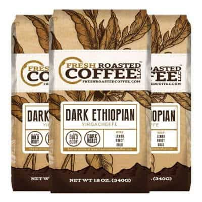 Fresh Roasted Coffee LLC, Dark Ethiopian Yirgacheffe Kochere Coffee, Dark Roast, Whole Bean, 12 Ounce Bags, 3 Pack