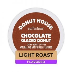 Donut House Collection Chocolate Glazed Donut, Single-Serve Keurig K-Cup Pods Medium Roast Coffee 72 CT, 3 Bx of 24 Pods