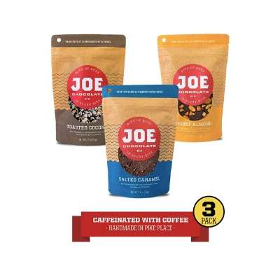 Joe Chocolates Original Variety Pack Caffeinated Dark Chocolate Espresso Bark (Honey Almond, Salted Caramel, Midnight Coconut) (3-Pack)