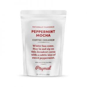 PRYMAL Coffee Creamer - Non Dairy, Keto, Sugar Free - 100% Natural, Non Refrigerated Powder with MCT - 11.3oz Bag - Peppermint Mocha Flavor